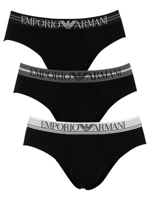 Emporio Armani 3 Pack Briefs - Black/Black