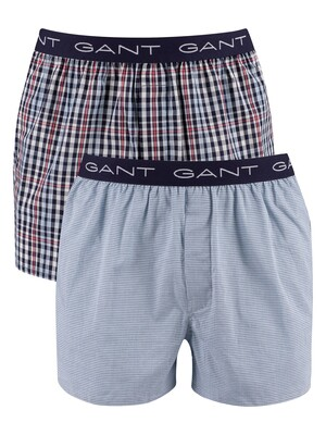 GANT 2 Pack Woven Boxer Shorts - Classic Blue