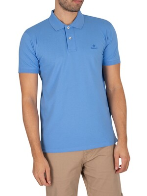 GANT Contrast Collar Pique Rugger Polo Shirt - Pacific Blue