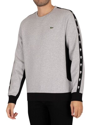 Lacoste Colourblock Fleece Sweatshirt - Grey Chine / Black
