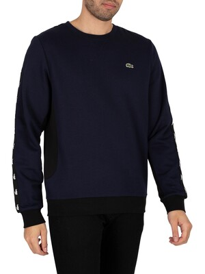 Lacoste Colourblock Fleece Sweatshirt - Navy Blue / Black
