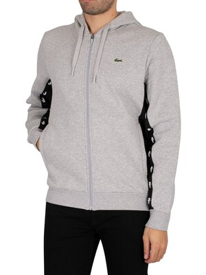 Lacoste Colourblock Fleece Zip Through Hoodie - Light Grey/Black