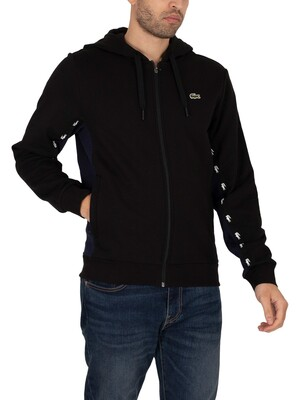 Lacoste Colourblock Fleece Zip Through Hoodie - Black/Navy