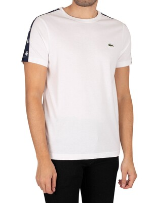 Lacoste Crocodile Bands Cotton Blend T-Shirt - White/Navy