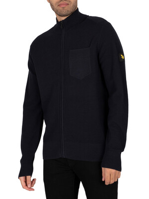 Lyle & Scott Zip Through Knitted Cardigan - Dark Navy