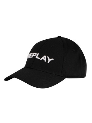 Replay Branded Baseball Cap - Black/White