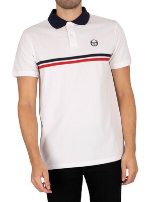Sergio Tacchini Supermac Polo Shirt - White/Navy/Red