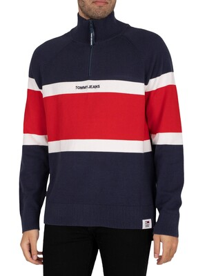 Tommy Jeans Colourblock Mock Neck Sweatshirt - Twilight Navy