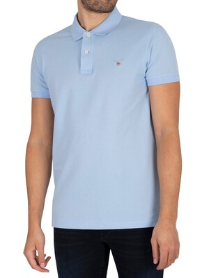 GANT Slim Pique Rugger Slim Polo Shirt - Capri Blue