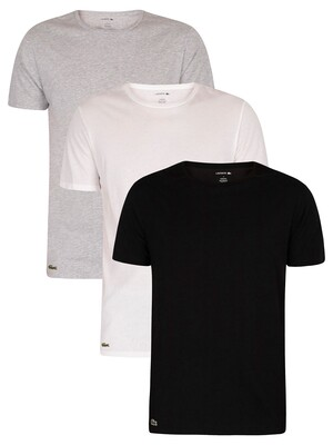 Lacoste 3 Pack Lounge Crew T-Shirts - White/Grey/Black