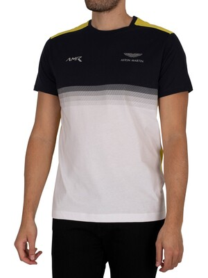 Hackett London Aston Martin Racing Multi Lines T-Shirt - Navy/White