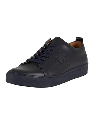 Hackett London Charlton Cupsole Leather Trainers - Navy