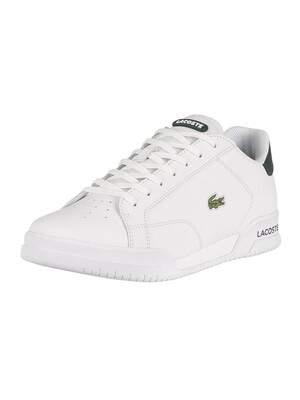 Lacoste Twin Serve 0721 1 SMA Leather Trainers - White/Dark Green