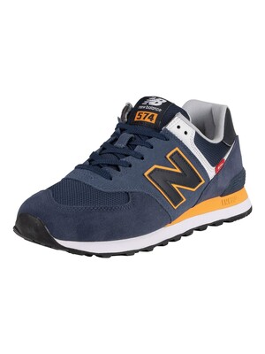 New Balance 574 Suede Trainers - Natural Indigo/Habanero