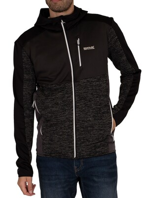 Regatta Cadford Full Zip Hooded Marl Jacket - Black/Black