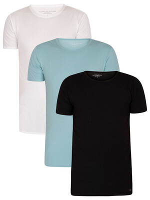 Tommy Hilfiger 3 Pack Stretch Crew T-Shirt - Black/Summit/White