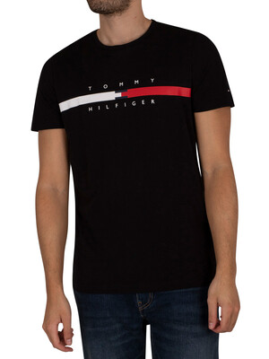 Tommy Hilfiger Global Stripe Chest T-Shirt - Black