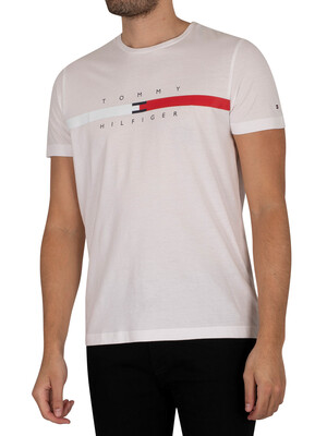 Tommy Hilfiger Global Stripe Chest T-Shirt - White