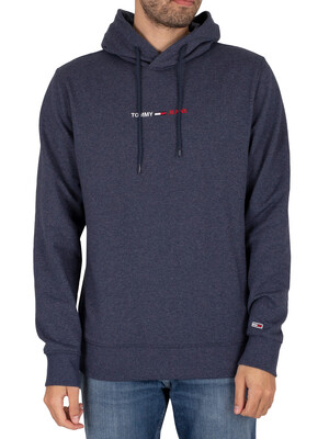 Tommy Jeans Straight Logo Pullover Hoodie - Twilight Navy Heather
