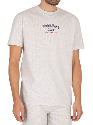 Tommy Jeans Timeless Script T-Shirt - Silver Grey Heather
