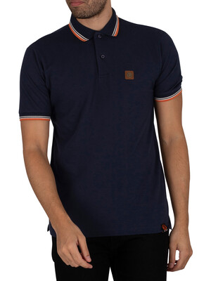 Trojan Badged Pique Polo Shirt - Navy