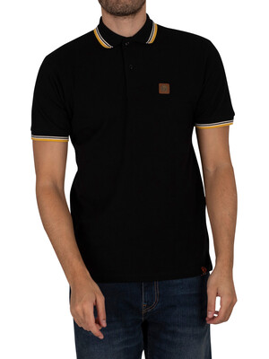 Trojan Badged Pique Polo Shirt - Black