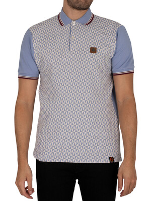 Trojan Diamond Front Panel Polo Shirt - Sky