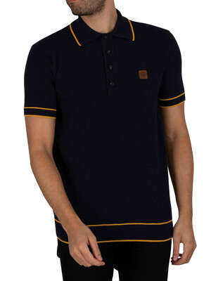 Trojan Fine Gauge Diamond Panel Polo Shirt - Navy