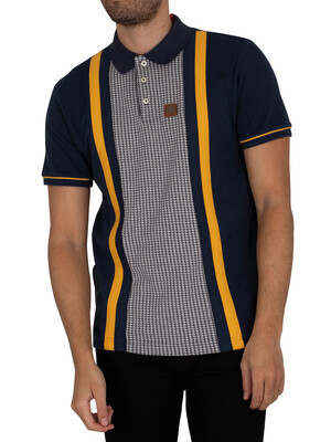 Trojan Houndstooth Panel Polo Shirt - Navy