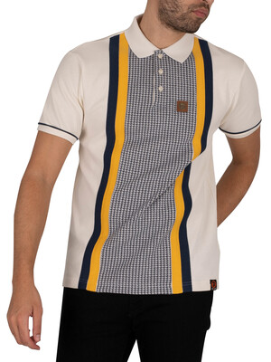Trojan Houndstooth Panel Polo Shirt - Ecru