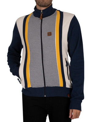 Trojan Houndstooth Panel Track Jacket - Navy