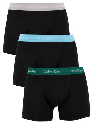 Calvin Klein 3 Pack Trunks - Jade Sea/Sky High/Sleek Silver