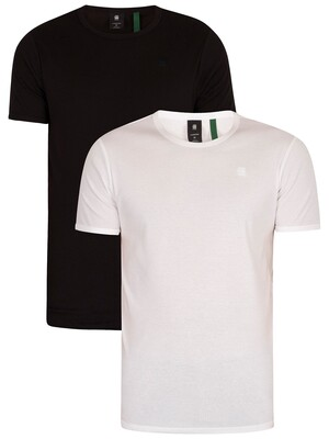 G-Star 2 Pack Crew Neck Slim T-Shirts - White/Black