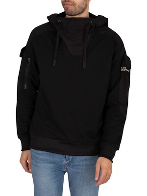 G-Star Mixed Woven Cargo Pullover Hoodie - Dark Black