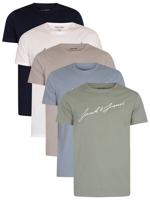 Jack & Jones 5 Pack Jax Graphic T-Shirts - White/Grey/Navy/Blue/Green