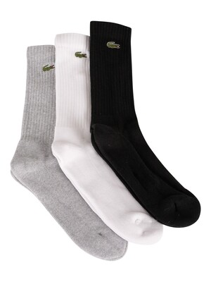 Lacoste 3 Pack Sport Socks - Grey/White/Black