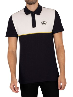 Lacoste Logo Badge Slim Polo Shirt - Navy/Beige
