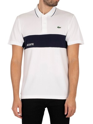 Lacoste Sport Colourblock Polo Shirt - White/Navy Blue