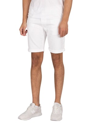 Replay New Anbass Denim Slim Shorts - White