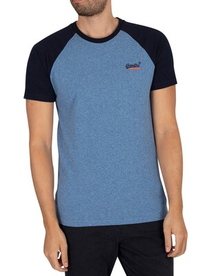 Superdry Original Logo Baseball T-Shirt - Bright Blue Grit