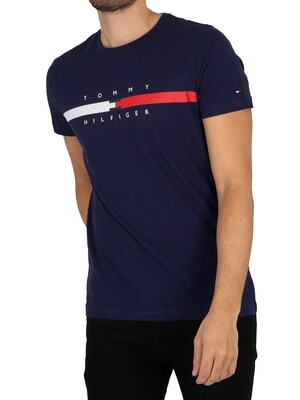 Tommy Hilfiger Global Stripe Chest T-Shirt - Yale Navy