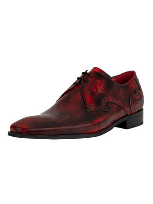 Jeffery West Derby Brogue Polished Leather Shoes - Red