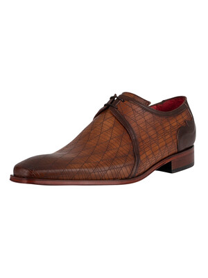 Jeffery West Derby Leather Shoes - Castano/Dark Brown