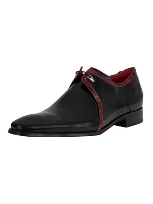 Jeffery West Polished Leather Brogue Shoes - Black/Red