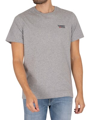 Tommy Jeans Regular Corp Logo T-Shirt - Light Grey Heather