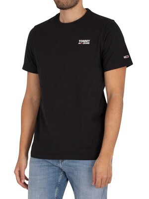 Tommy Jeans Regular Corp Logo T-Shirt - Black