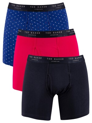Ted Baker 3 Pack Fitted Boxer Briefs - Blue/Rose/Sky Captain