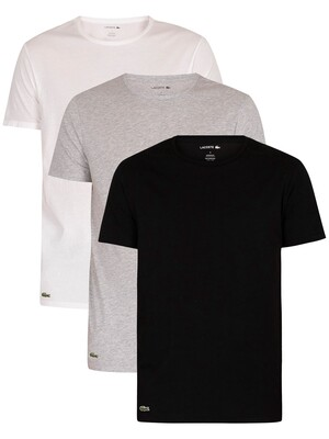 Lacoste 3 Pack Essentials Lounge T-Shirt - White/Light Grey/Black