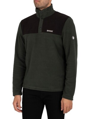 Regatta Melrow Button Neck Sweatshirt - Deep Forest/Black