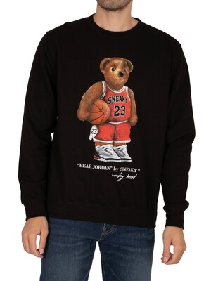 Sneaky Bear Jordan Graphic Sweatshirt - Black